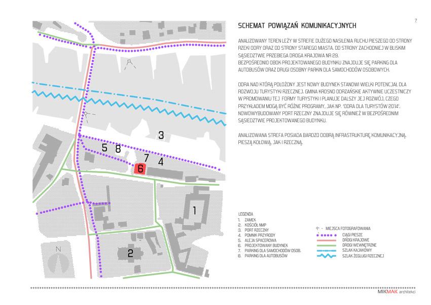 Projekt pawilonu handlowego w Krośnie Odrzańskim - schemat powiązań komunikacyjnych