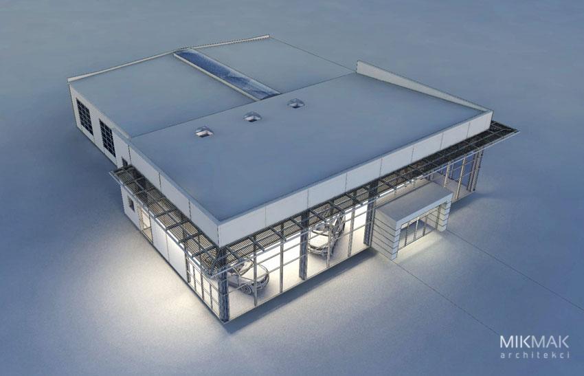 Projekt salonu samochodowego - wizualizacja od góry