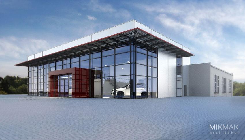 Wizualizacja projektu salonu samochodowego w Zielonej Górze