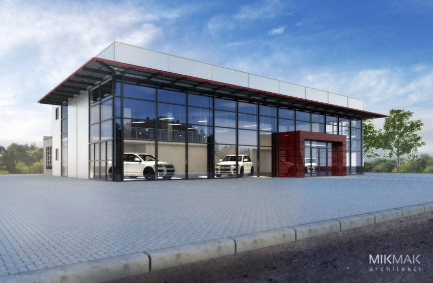 Projekt salonu samochodowego - wizualizacja