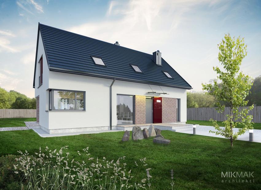 Projekt nowoczesnego domu z poddaszem - widok od frontu