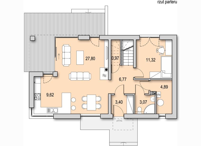 Projekt nowoczesnego domu CANTO - rzut parteru
