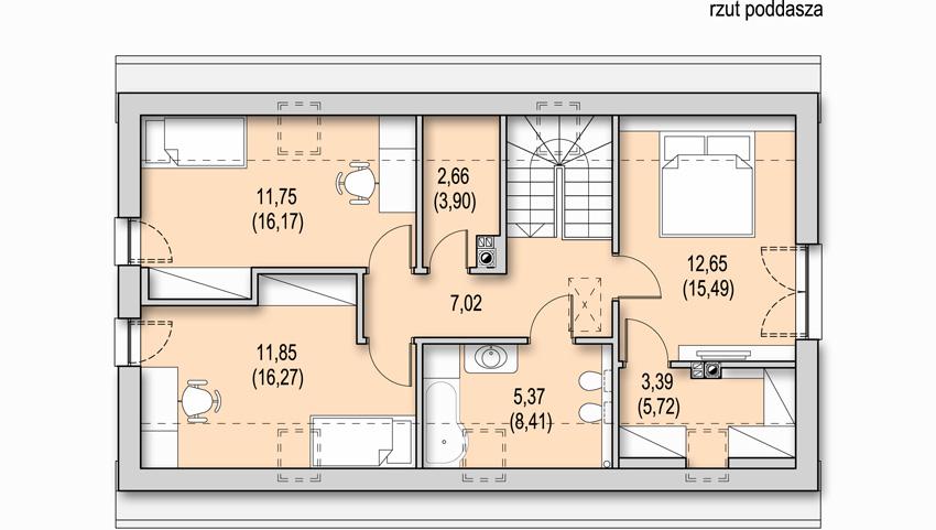Projekt nowoczesnego domu CANTO - rzut poddasza