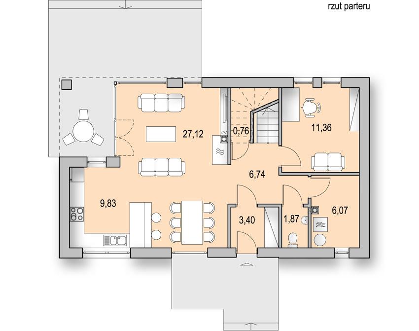 Projekt nowoczesnego małego domu z poddaszem - rzut parteru