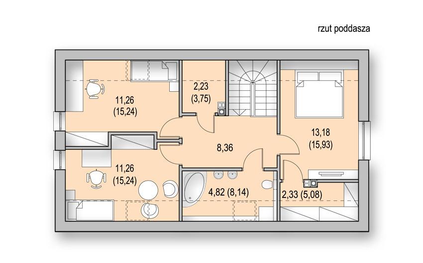 Projekt nowoczesnego małego domu z poddaszem - rzut poddasza