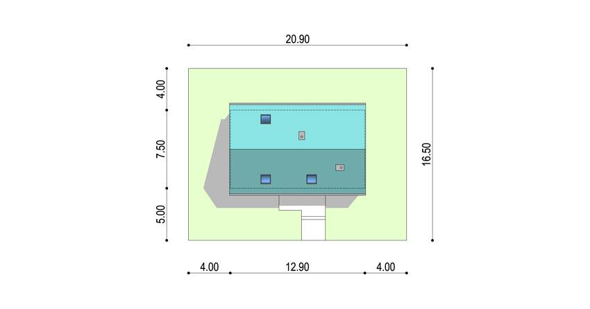 Projekt nowoczesnego małego domu z poddaszem - rzut domu