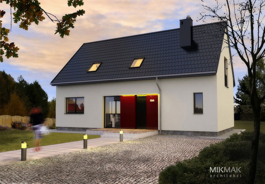 Projekt nowoczesnego małego domu z poddaszem - widok w nocy