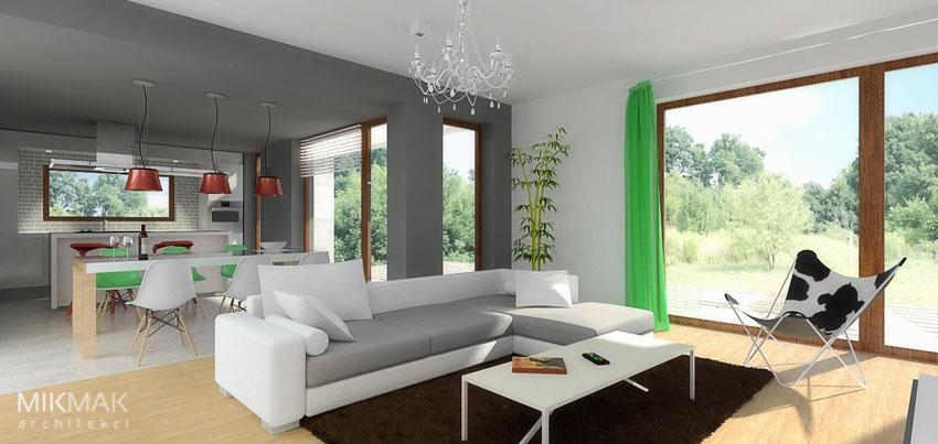 FORTE - projekt nowoczesnego domu z poddaszem - widok wnętrza