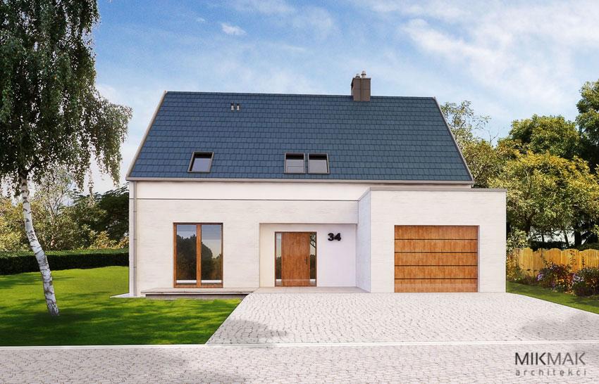 FORTE - nowoczesny dom z garażem i tarasem - widok od frontu