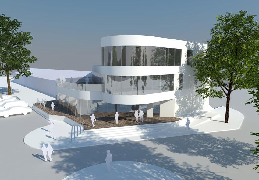 Projekt pawilonu handlowego w Krośnie Odrzańskim - widok na wejście główne