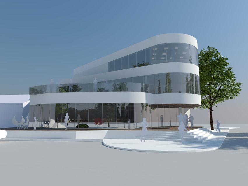 Projekt pawilonu handlowego w Krośnie Odrzańskim - widok z boku