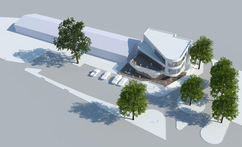 Projekt pawilonu handlowego w Krośnie Odrzańskim - widok z góry