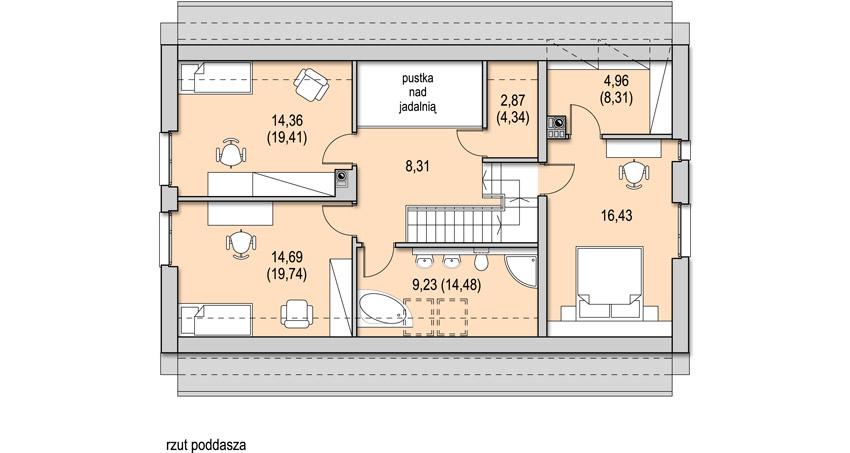 Projekt domu LEGATO - rzut poddasza