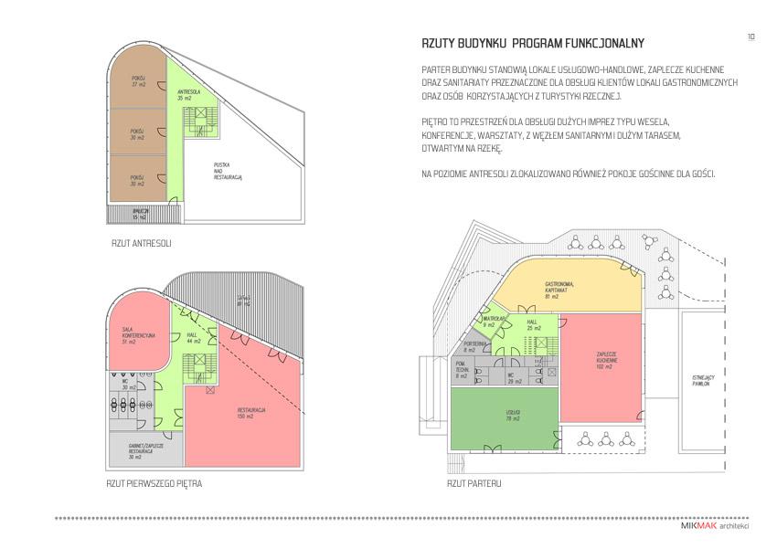 Projekt pawilonu handlowego w Krośnie Odrzańskim - rzuty budynku