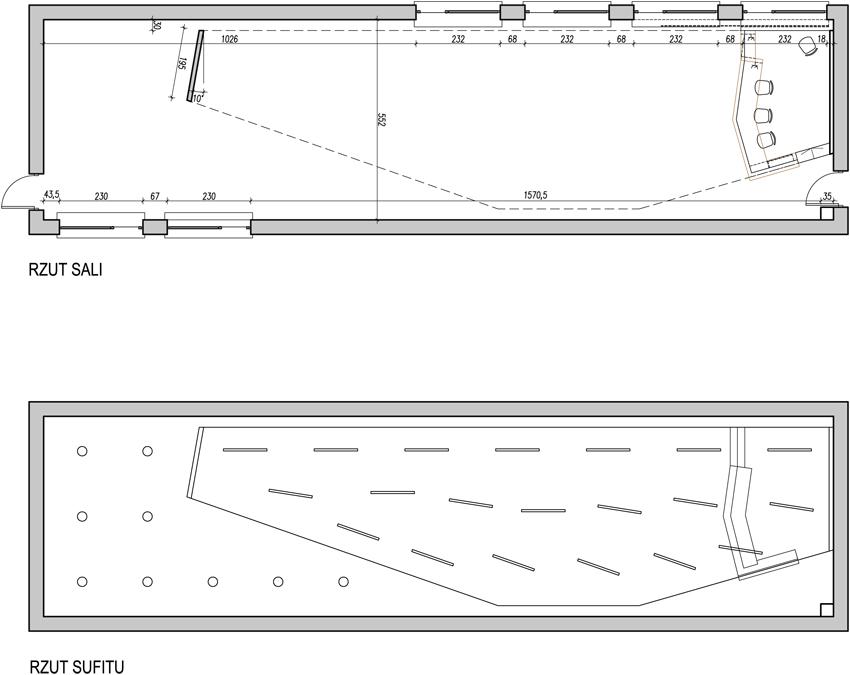Projekt modernizacji sali konferencyjnej - rzuty sali i sufitu