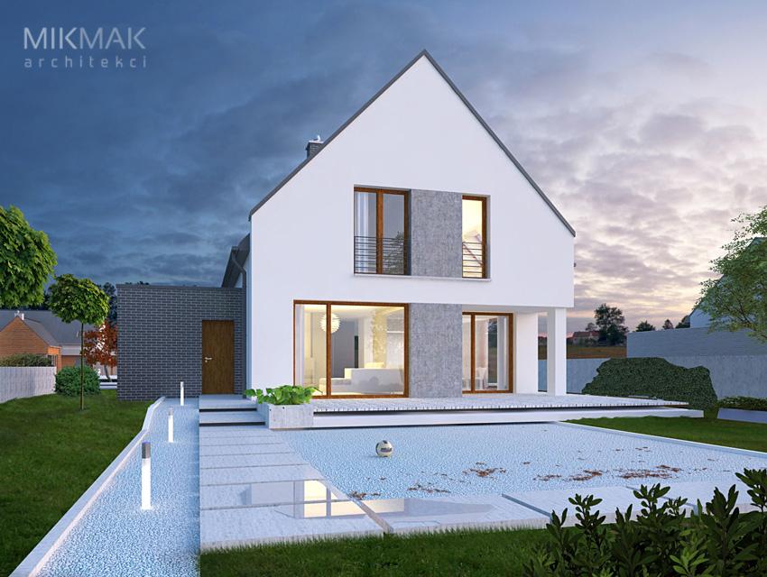 Projekt domu nowoczesnego jednopiętrowego z tarasem