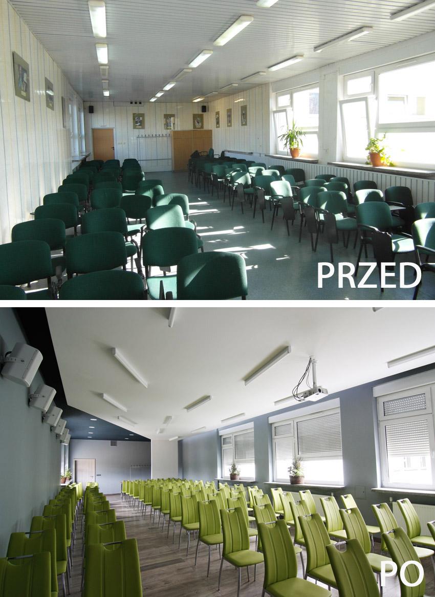 Widok sali od przodu - przed i po modernizacji
