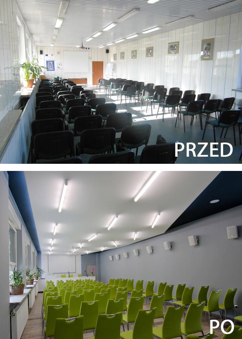 Widok sali od tyłu - przed i po modernizacji