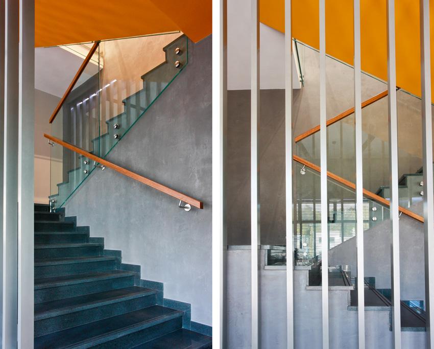 Dwa ujęcia schodów po modernizacji
